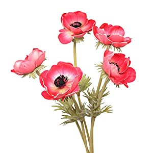En Ge 10Pcs Artifical Real Touch PU Anemone Flowers Bouquet Room Home Decor 5