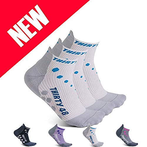 Thirty 48 Compression Low-Cut Running Socks for Men and Women (Large - Women 9-10.5 // Men 10-11.5, [3 Pairs] Blue/White)