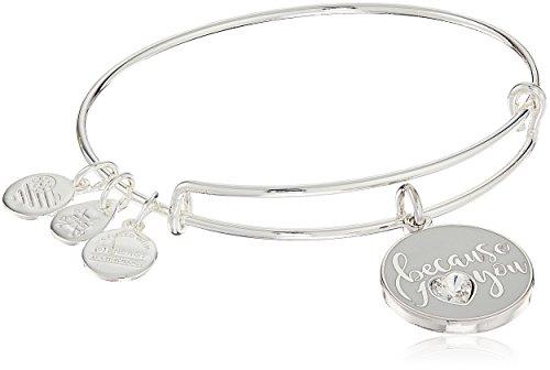 Price comparison product image Alex and Ani Because I Love You With Swarovski Crystal Shiny Silver Bangle Bracelet