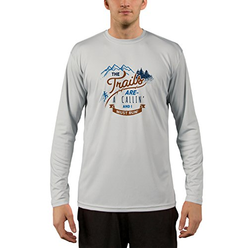 Trail Runner Tech Tee - The Trails are Calling Men's UPF 50+ Long Sleeve T-Shirt Large Pearl Grey
