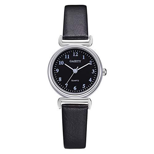 Amazon.com : Delicate Ladies Watch Casual Female Leather Quartz Wrist Watch Clock Women Elegant Women Watches Relojes para Mujer(Black, ...