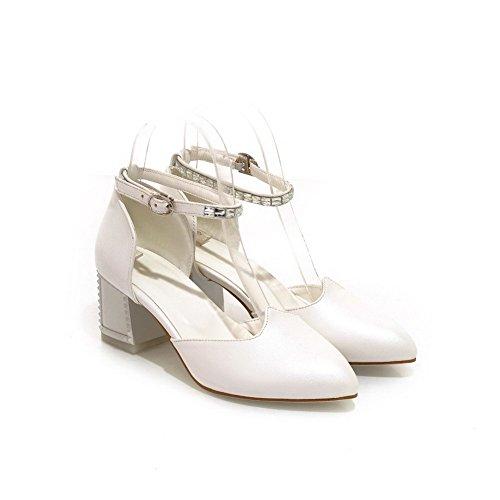 Allhqfashion Femmes Boucle Pointu Fermé Orteils Chaton Talons Pu Solides Pompes Chaussures Blanc