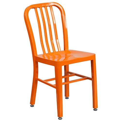 Flash Furniture Orange Metal Indoor-Outdoor Chair (Metal Desk Chair)