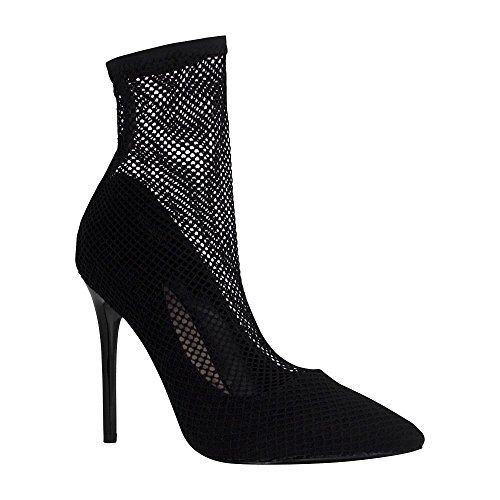 Angelina Womens Fishnet Sock Pointed Toe Casual Stiletto Pump Black 9wxE3Lm
