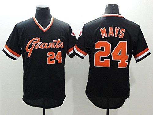 Men's #24 Willie Mays Alternate Baseball Jersey Black M