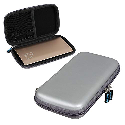 Anleo Hard EVA Travel Case for fits DULLA M50000 Portable Power Bank 12000mAh External Battery Charger Color: Silver