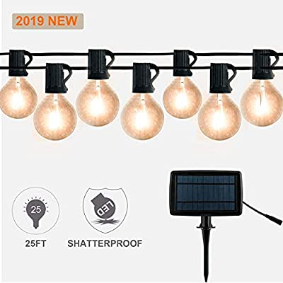 ExcMark 25ft Solar LED String Lights with 25 Shatterproof Clear Bulbs, Waterproof Outdoor Hanging Lights for Patio Garden Bistro Pergola Beckyard Tents Market Cafe Gazebo Porch Party Décor