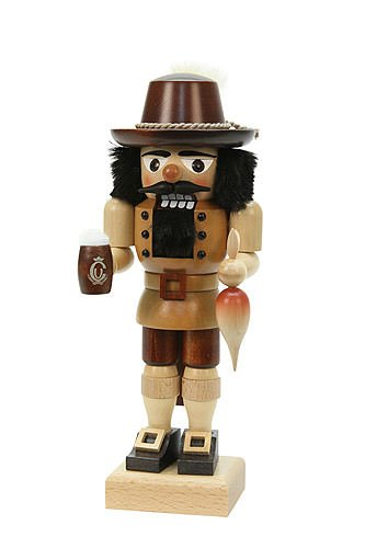 German Christmas Nutcracker Bavarian natural colors - 26 cm / 10 inches - Christian Ulbricht by Ulbricht