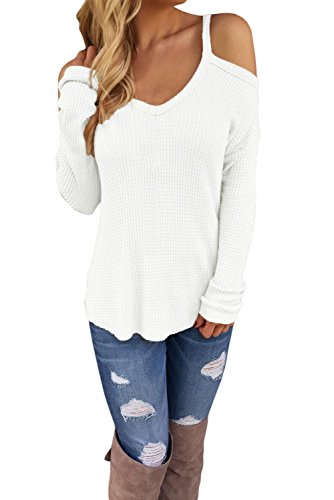 IF FEEL Black Friday Womens Sexy White Cold Shoulder Knit Long Sleeves Sweater (S, White) (Gold Mohair)