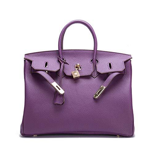 Gold Hardware Leather Handbags - POOXUN Women's Padlock Handbags Genuine Leather With Gold Hardware Orange 30 35CM (Large 35CM, Purple)