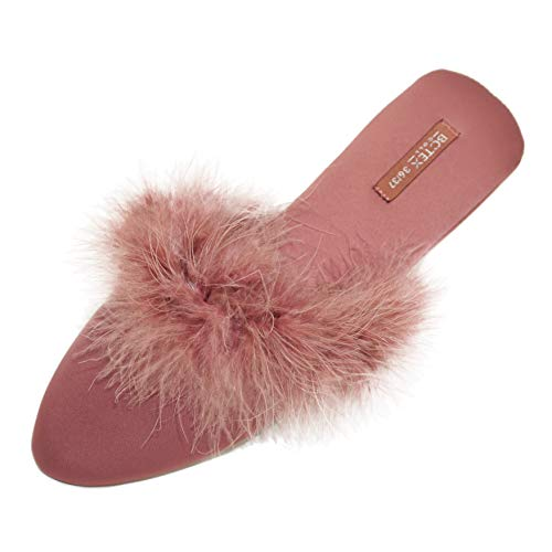 (BCTEX COLL Women's Chic Slippers, Asymmetric Design Satin House Shoes Fluffy Feather Satin Slip on Mule Indoor/Outdoor No Slip Ladies Graceful Home Slippers with Rubber Sole)