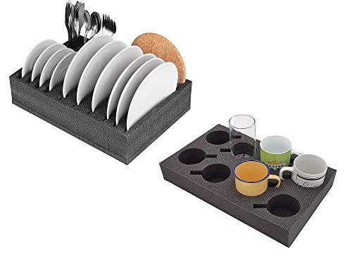 41n3Twb3JGL SCHAUMEX® Camping Set - Tellerhalter und Besteckhalter mit Platz für 12 Teller + Tassenhalter XL für Platz bis zu 8…