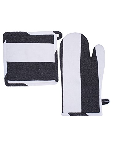 Villa Tranquil Oven Mitt and Pot Holder, Set of 2, 100% Cotton, Twill Stripe, Essential for All Bakers, Black Color.