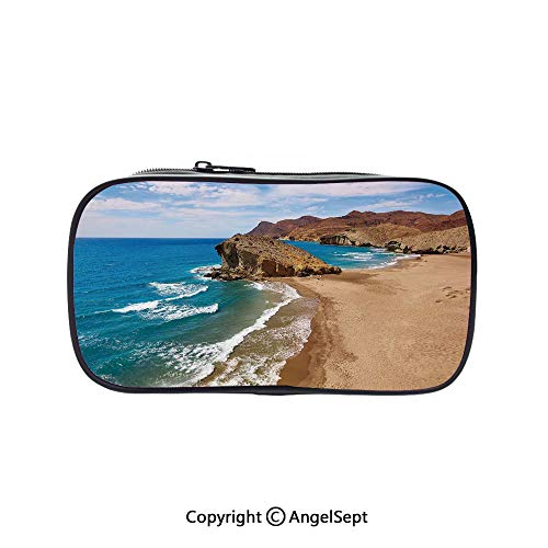 Pencil Holder with Handle Strap Handy Colored,Ocean View Tranquil Beach Cabo De Gata Spain Coastal Photo Scenic Summer Scenery Blue Brown 5.1inches,Large Capacity Students Stationery ()