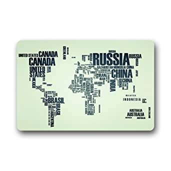 "Evergreen Fashion Custom Fashion Print World Map by Country Name Letters Machine-washable Doormat Personalized Home Door Mat Gate Pad Rug 23.6""(L) x 15.7""(W)"