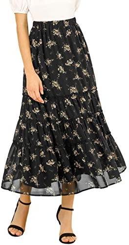 WearAll Womens Plus Floral Maxi Skirt Ladies Print Elasticated Waist Full Length 14-28