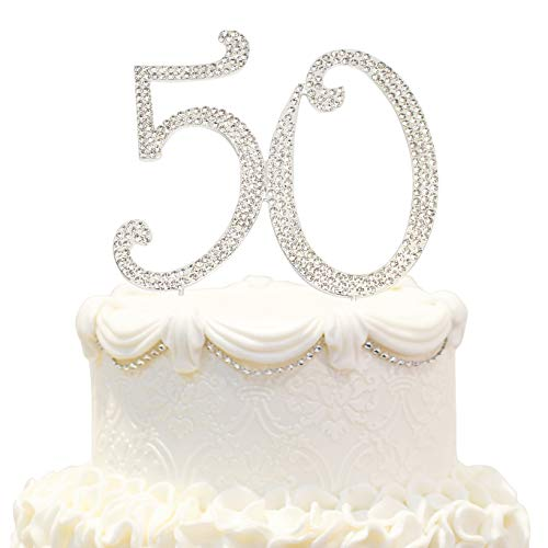Hatcher lee Bling Crystal 50 Birthday Cake Topper - Best Keepsake | 50th Party Decorations Silver