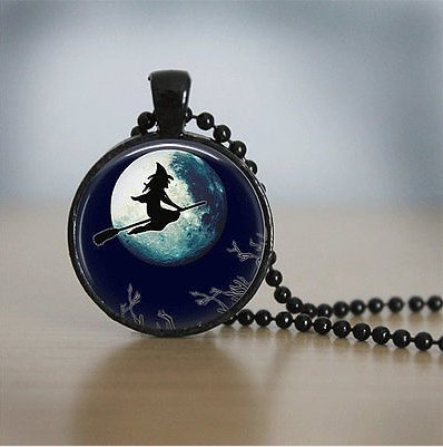 Halloween Jewelry (Halloween Jewelry Halloween Necklace Glass Tile Necklace Witch Jewelry)