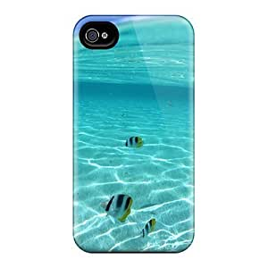 Flexible Tpu Back Case Cover For Iphone 4/4s - Water Nature School Of Fish In Clear And