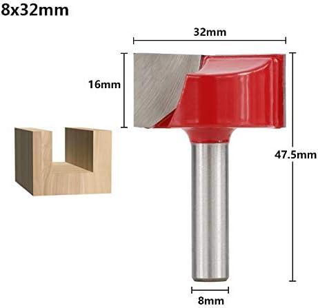 WITHOUT BRAND 1pc 8mm Schaft Reinigung Bottom Fräser 18-32mm Schaftfräser HM CNC-Fräser for Holzstich Bit (Größe : 8x32mm)