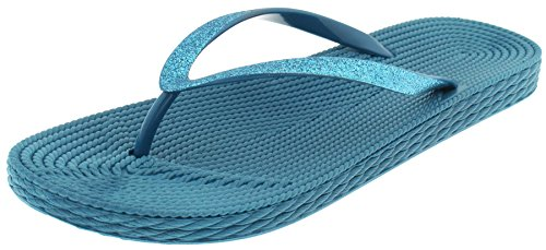 Capelli New York Ladies Fashion Flip Flops with Glitter Faux Leather Aspen Blue 11