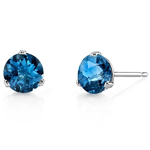 14 Kt White Gold Martini Style Round Cut 2.00 Carats London Blue Topaz Stud Earrings -