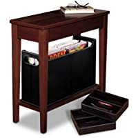 Levenger No-Room-for-a-Table Table with Baskets-Dark Cherry