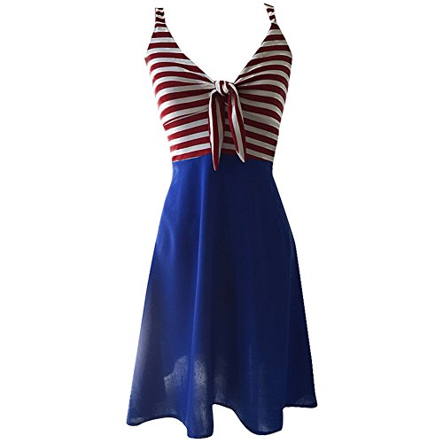 Switchblade Stiletto Women's Sailor Betty Tie Dress Red/White Stripe (Stripe Sailor Skirt)