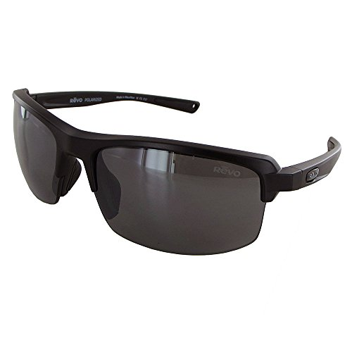 Revo Crux S RE 4067 03 Polarized Rectangular Sunglasses,Matte Black & Graphite,55 - Sunglasses Revo