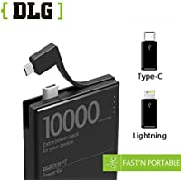DLG 10000mAh Ultra Compact portable Power Bank External Battery Pack Charger with Smart IC technology high-speed charging for iPhone,ipad,Samsung Galaxy and more