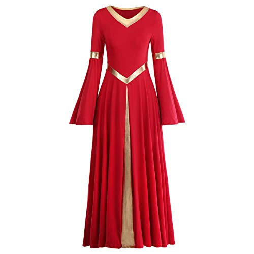 Praise Lyrical Dance Dress, Women Adult Prom Ballroom Dance Dresses Modern Smooth Waltz Tango Party Latin Swing Competition Dancewear Lady Christian Festivals Dancing Costumes Praisewear Red+Gold 2XL
