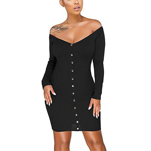 (Susupeng Women's Off The Shoulder Ruched Long Sleeve Ribbed Bodycon Buttons Sexy Mini Dress (Large, Metal Button Black) )