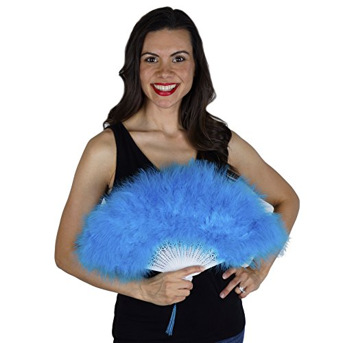 Dark Turquoise Feather Flapper Hand Fan - Blue Marabou Folding Fan Dance Wedding Home Decor
