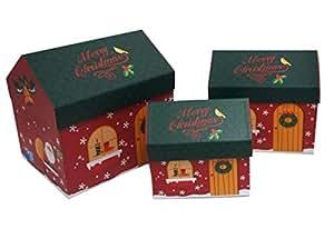 3 PIECES CHRISTMAS GIFT BOX SET - HOUSE SHAPE DESIGN