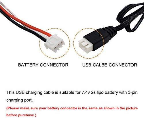 Gecoty® Chargeur de batterie Lipo 7,4 V, câble de charge USB 1300 mA pour batterie Lipo 7,4 V 2S, drone RC voiture bateau RC robot RC