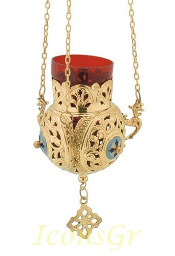 Gold Plated Orthodox Greek Christian Bronze Hanging Votive Vigil Oil Lamp with Chain and Red Glass - 9686g by Iconsgr