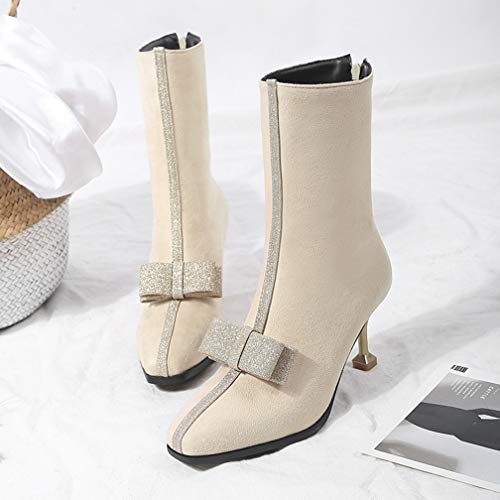0115b4df8dc43 ChyJoey Women's Warm Mid Heel Ankle Booties Square Toe Zipper Glitter Bows  Pumps Winter Short Sexy Boots Beige