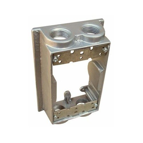 Weatherproof One Gang Flanged Box Extension Adapter - 4 Outlet Holes 1/2