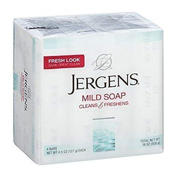 Jergens Mild Soap Cleans Freshens 4 bars, 4.5 oz Packs of 7