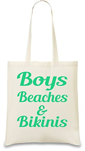 Boys Beaches And Bikinis Custom Printed Tote Bag| 100% Soft Cotton| Natural Color & Eco-Friendly| Unique, Re-Usable & Stylish Handbag For Every Day Use| Custom Shoulder Bags By Bang - Friendly Bikinis Eco