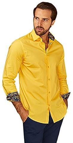 Azaro Uomo Men's Solid Button Down, Yellow, S - Uomo Mens Fashion