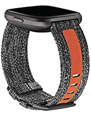 Fitbit Versa 2 Health and Fitness Watch Woven Accessory Band, Large - Charcoal/Orange