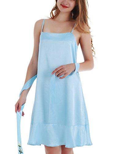 Yulee Women's Satin Chemise Nightshirt Ruffle Hem Slip Dresses Blue, (Ruffle Hem Slip Dress)