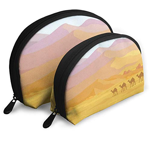 (Pouch Zipper Toiletry Organizer Travel Makeup Clutch Bag Dunes Of Desert Portable Bags Clutch Pouch Storage Bags)