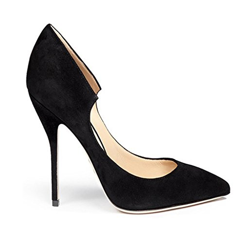 Solid Color Women's Shoes Elegant Commuter Shoes Shallow Mouth Pointed High Heels OL Suede Formal Occasions (Heel Height: 6-8cm),Black,37