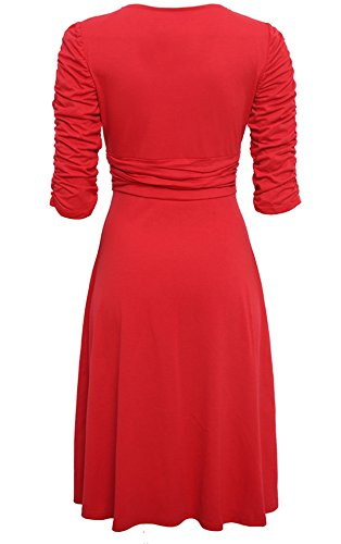 Fashion Red Tunic Women Dress Waist Elegant V Ruched 4 Mini 3 Neck Slim Allonly High OL U5wqAgZq