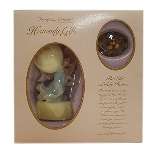 Seraphim Classics Heavenly Gifts The Gift of Safe Haven Angel w/Birdhouse & Golden Eggs Nest Ornament Set of 2 by Roman Inc.