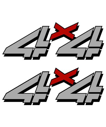 4x4 sticker set for Chevy, GMC, Sierra, Silverado Truck gray and red decal