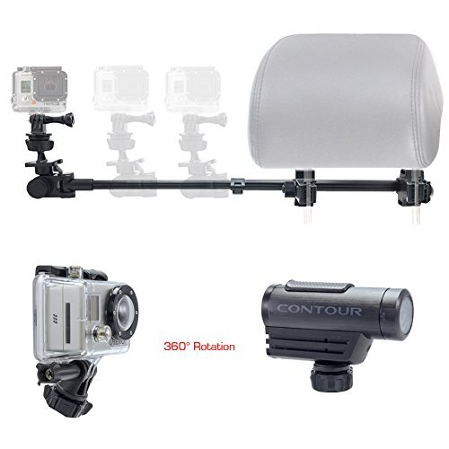 ChargerCity Dual Post Telescopic Headrest Mount for All GoPro Hero Session Sony Contour ROAM AKASO Yi 4K Action Cam Camera to record Drifting Race Track Racing Video (include Tripod Adapter & Wrench) -