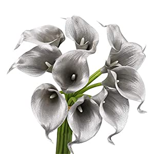 Angel Isabella, LLC 20pc Set of Keepsake Artificial Real Touch Calla Lily with Small Bloom Perfect for Making Bouquet, Boutonniere,Corsage (Metallic Silver Grey)